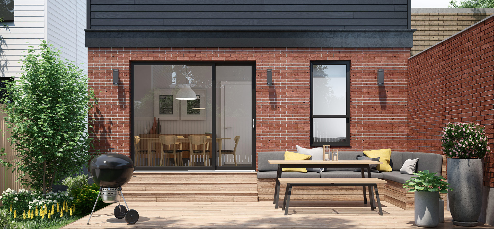 Asymmetric patio doors